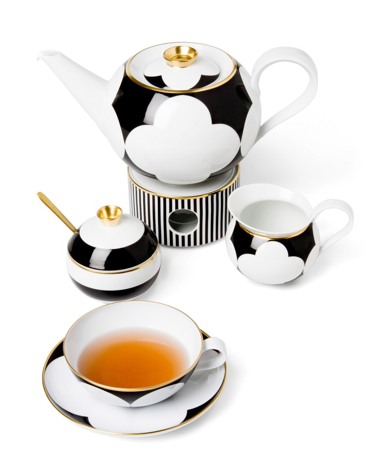 Fürstenberg Ca' d'Or by Sieger Tea pot cup black white Yakymour