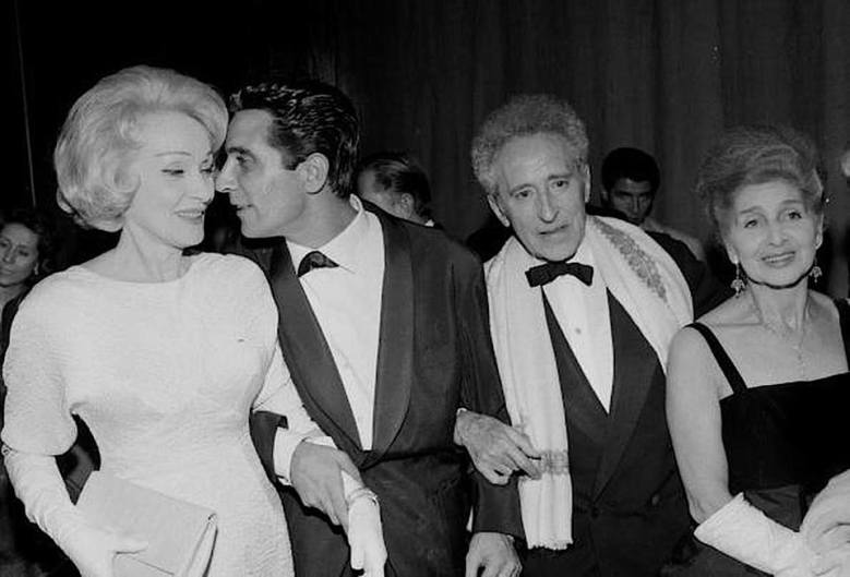 Marlene Dietrich, Gilbert Bécaud, JEAN COCTEAU and Margarethe Wallmann attend the dress rehearsal of Gilbert Bécaud's 'L'Opéra d'Aran' at le Théâtre des Champs-Elysées, Paris on October 26, 1962.