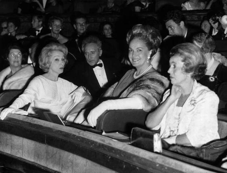 Marlene Dietrich, JEAN COCTEAU and Her Highness The Begum Om Habibeh Aga Khan III attend the dress rehearsal of Gilbert Bécaud's 'L'Opéra d'Aran' at le Théâtre des Champs-Elysées, Paris on October 26, 1962.