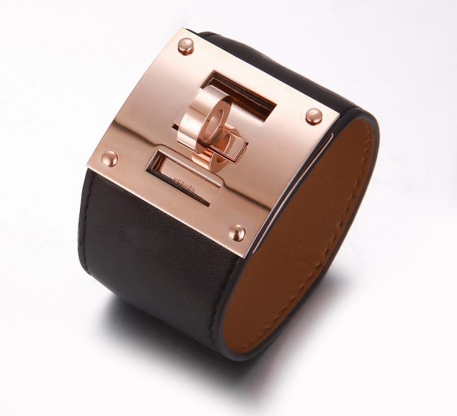 Hermes Black Leather Bracelets With Pink Gold Turn Buckle Wide