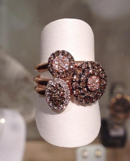 Jumelle Ring Gold Yellow Pink Diamond Brown