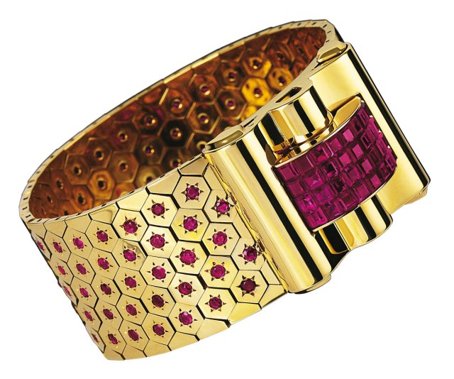 Van Cleef & Arpels Art Deco Bracelet Ruby Gold Yellow