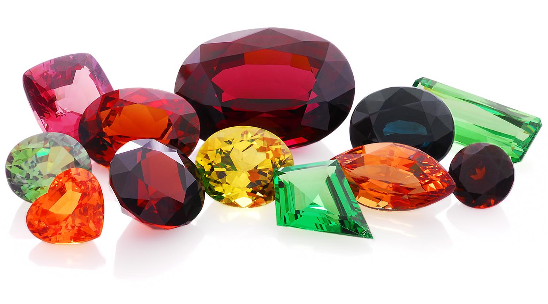 precious red green yellow orange multi colored stone Garnet
