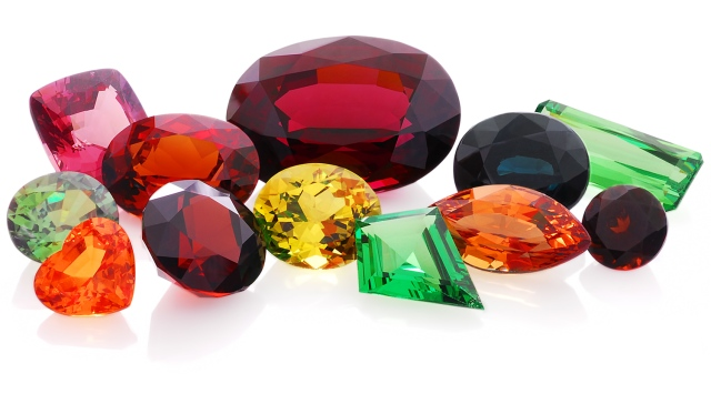 precious red green yellow orange multi colored stone Garnet