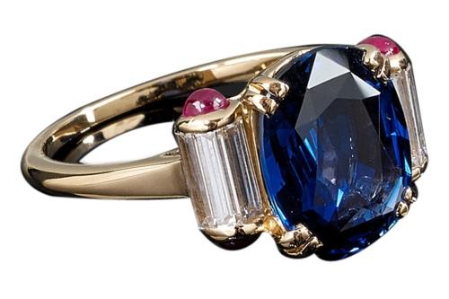 Mauboussin Sapphire Ruby Diamond Yellow Gold Ring
