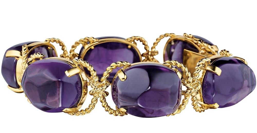 Verdura Pebble Amethyst Bracelet 18k Yellow Gold Purple