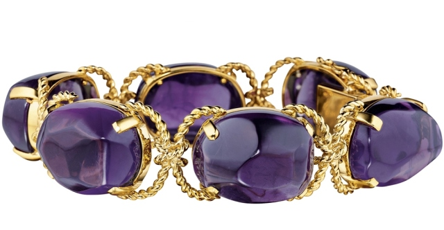 Verdura Pebble Amethyst Bracelet 18k Yellow Gold Purple