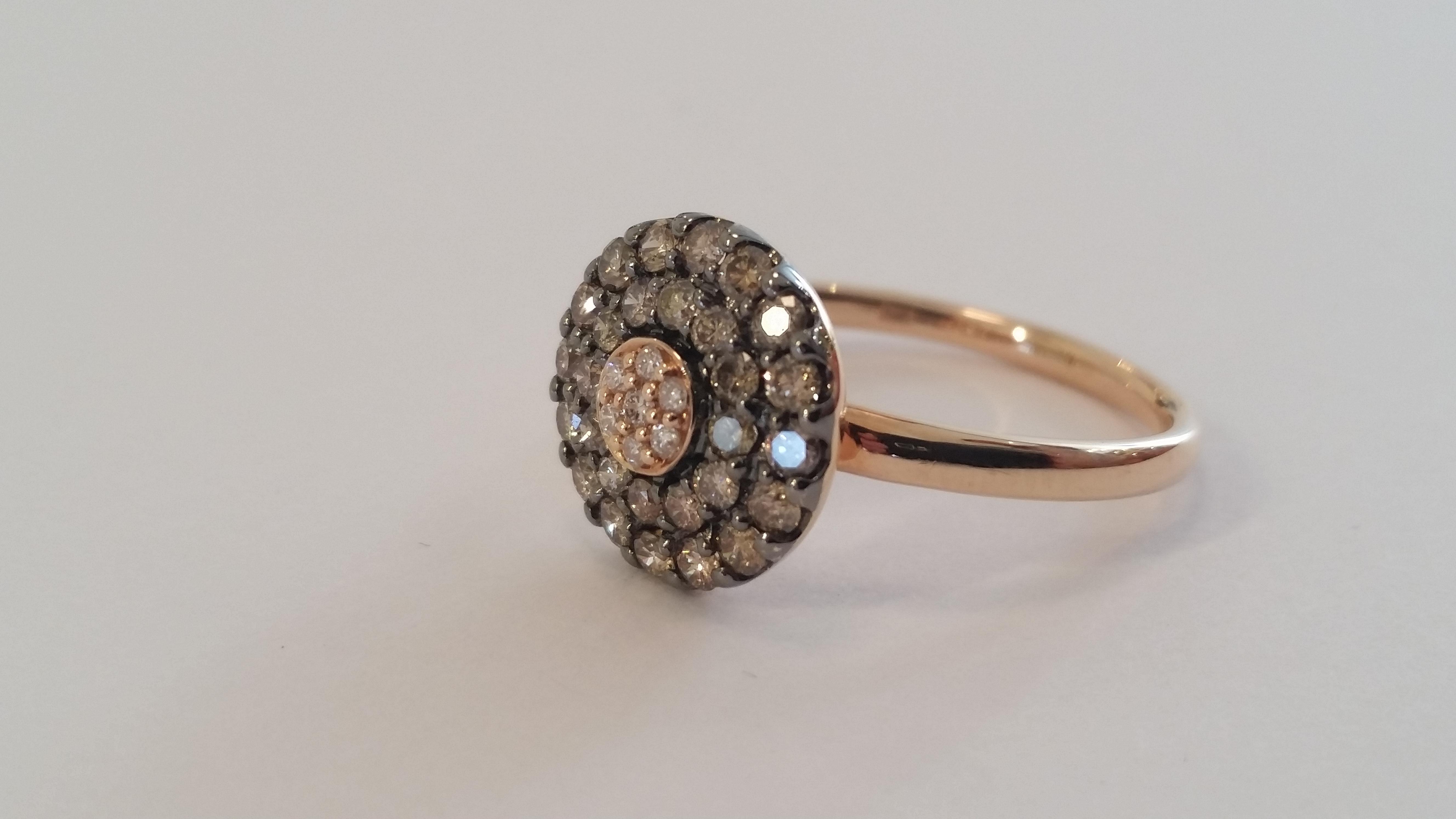 Ring Rose Gold Brown Diamonds Jumelle Yakymour