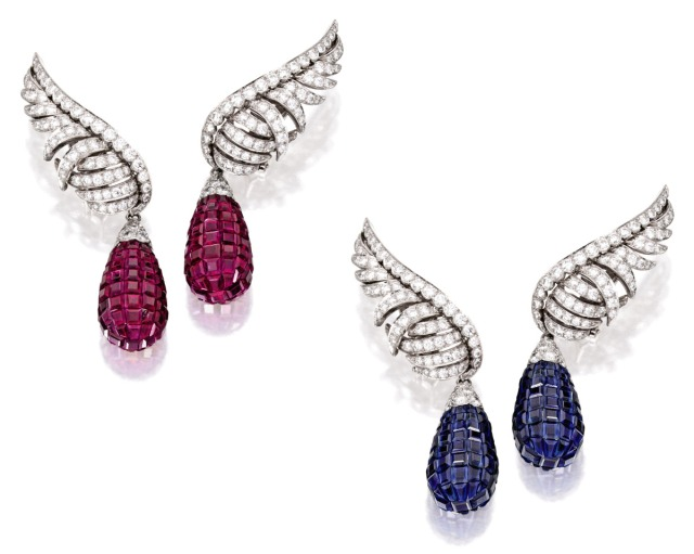 Van Cleef & Arpels Mystery-Set Ruby Sappihre Diamond Platinum Earclips