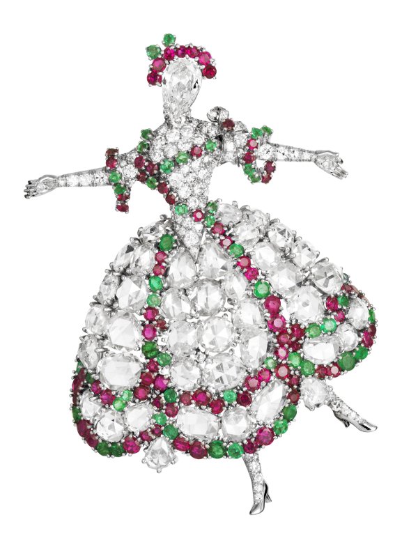 Van Cleef & Arpels Camargo brooch diamond ruby emerald yakymour