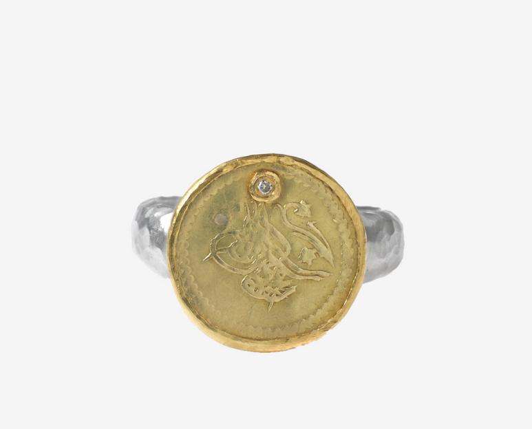 Karen Liberman ring Ottoman silver and gold 21 ct at White Bird Paris