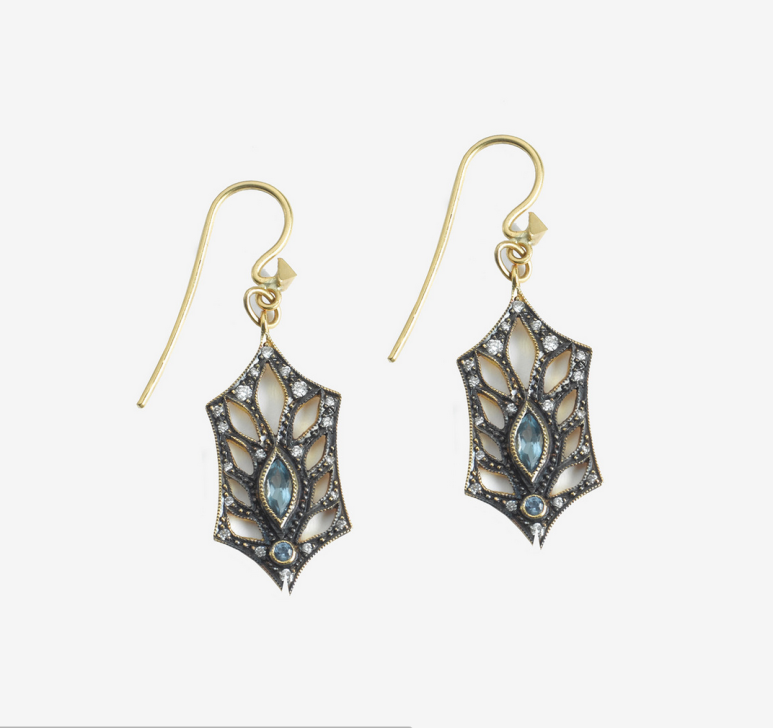 Earrings Cut out leaf gold 22 cts, diamonds and sapphires, Cathy Waterman at White Bird Paris