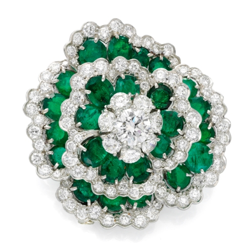 """Emerald and diamond """"Camellia"""" brooch by Van Cleef and Arpels, circa 1975"""