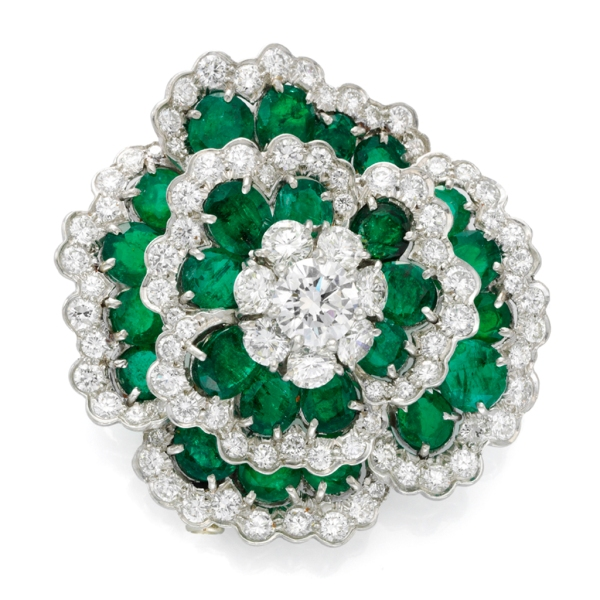 "Emerald and diamond ""Camellia"" brooch by Van Cleef and Arpels, circa 1975"