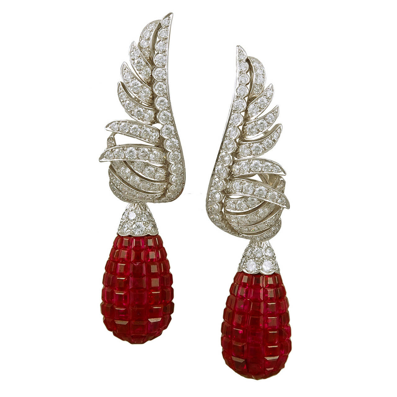 Van Cleef & Arpels Mystery-Set Ruby Diamond Platinum Earclips Yakymour