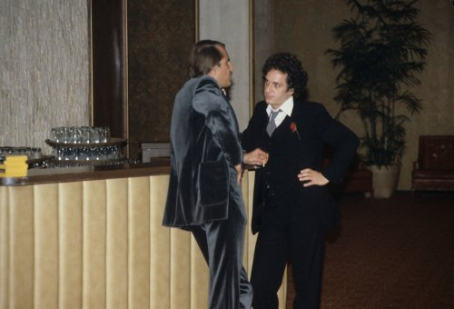 At right, songwriter Paul Jabara (1948-1992), at the premiere of Bette Midler's movie, THE ROSE, 1979
