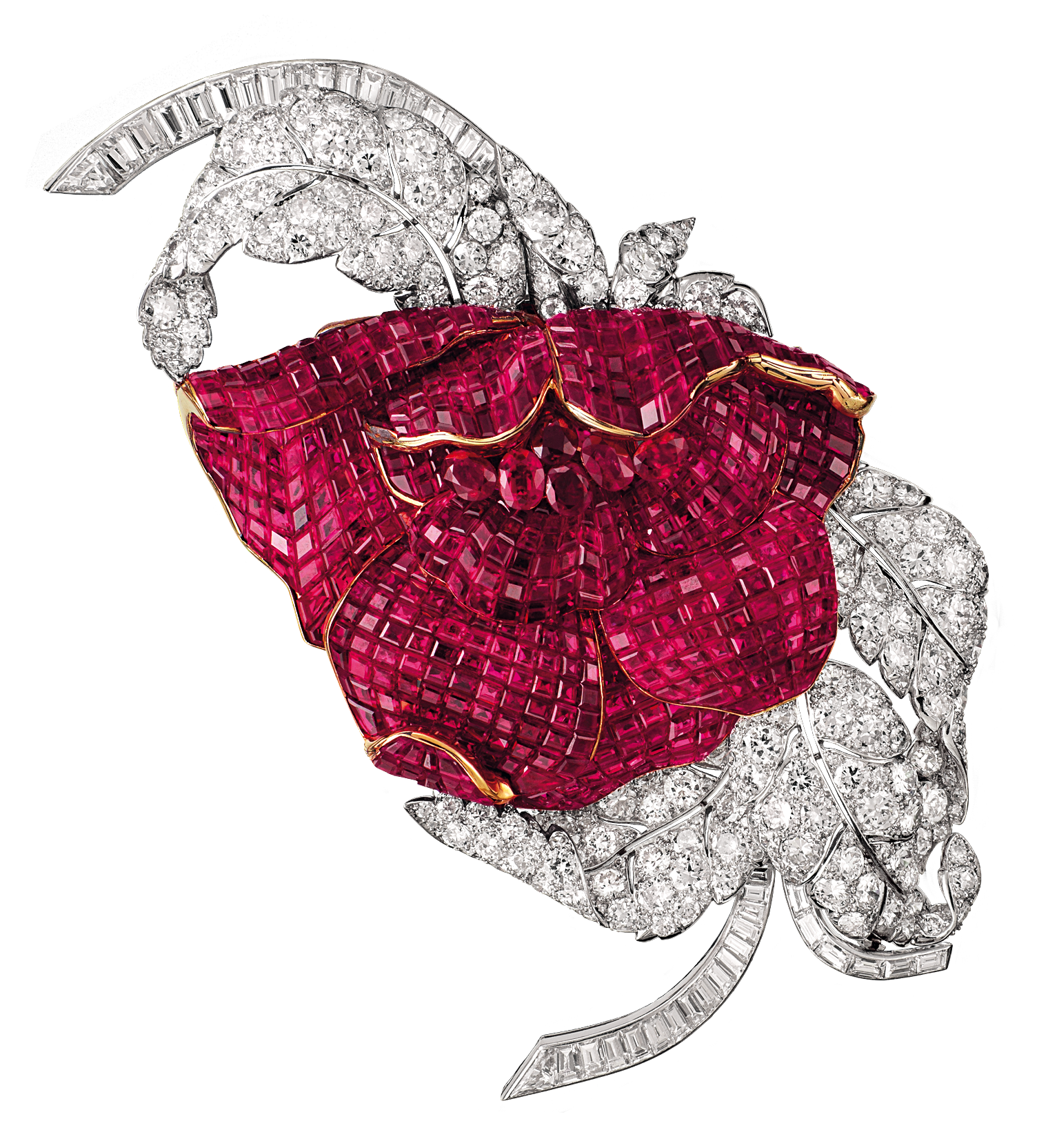 Van Cleef & Arpels Peony brooch Platinum Ruby Diamond Yakymour
