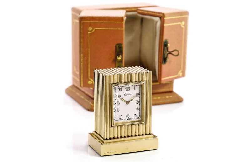 Cartier Art Deco Table Clock Yellow Gold
