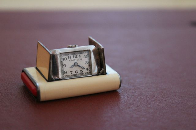 Art Deco 1930's Cartier La Captive Silver Enamel Travel Purse Watch