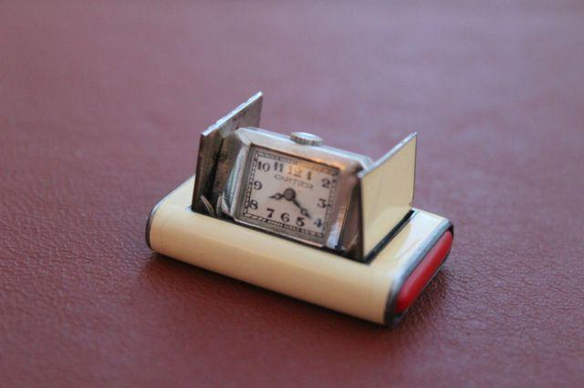 Art Deco 1930's Cartier La Captive Silver Enamel Travel Purse Watch