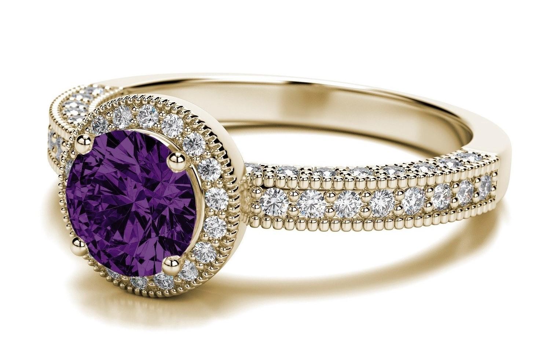 Amethyst vintage-milgrain-52ctw-diamond-engagement-ring-in-14k-yellow-gold
