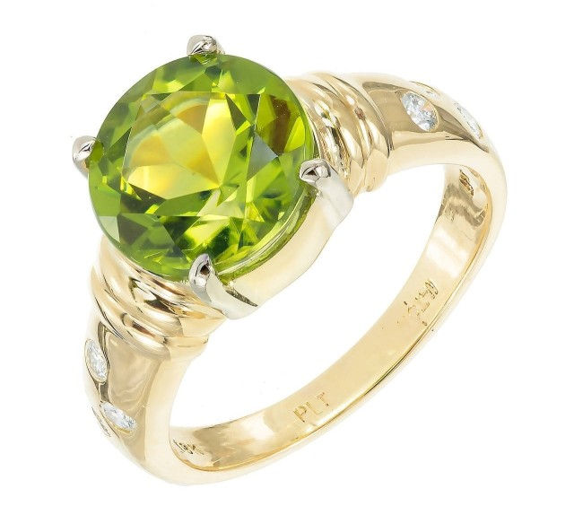 Peridot Diamond Gold Engagement Ring