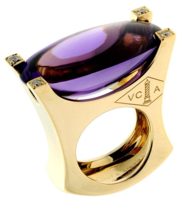 Van Cleef & Arpels 18k Yellow Gold Amethyst & Diamond Ring