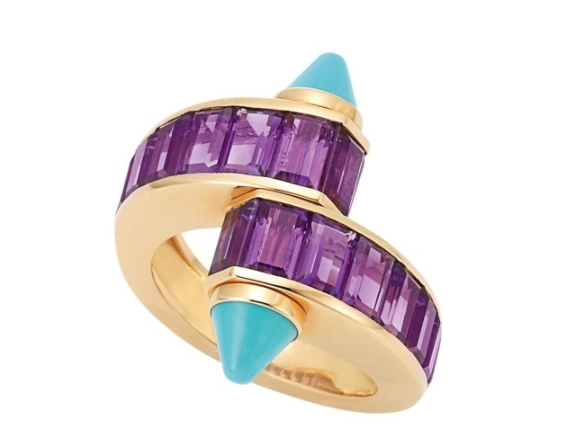 Gold-Amethyst-and-Turquoise-Crossover-Ring-Cartier-France