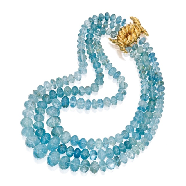 18 Karat Yellow Gold and Aquamarine Necklace, Verdura