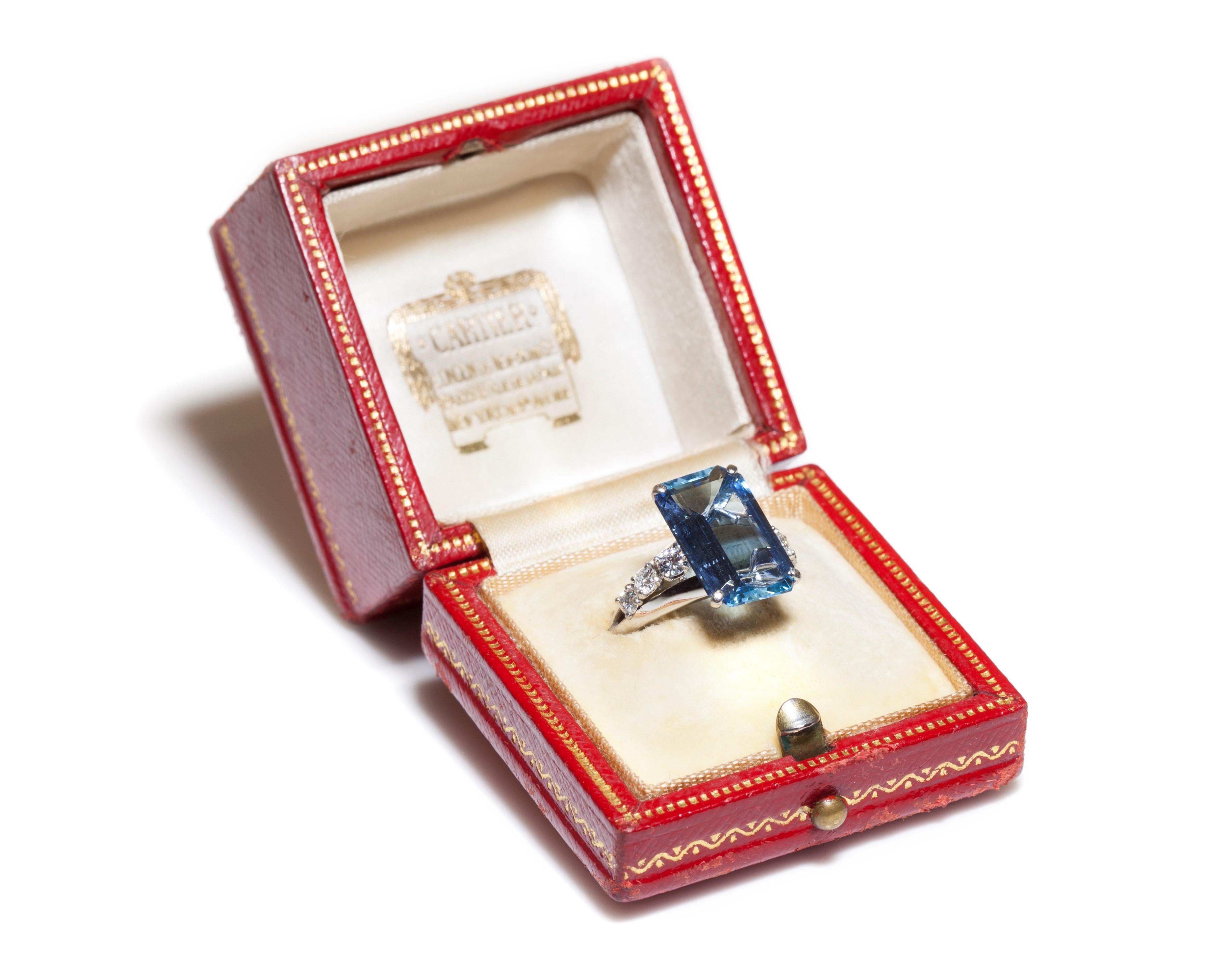 Cartier Aert Deco Aquamarine Diamond Ring