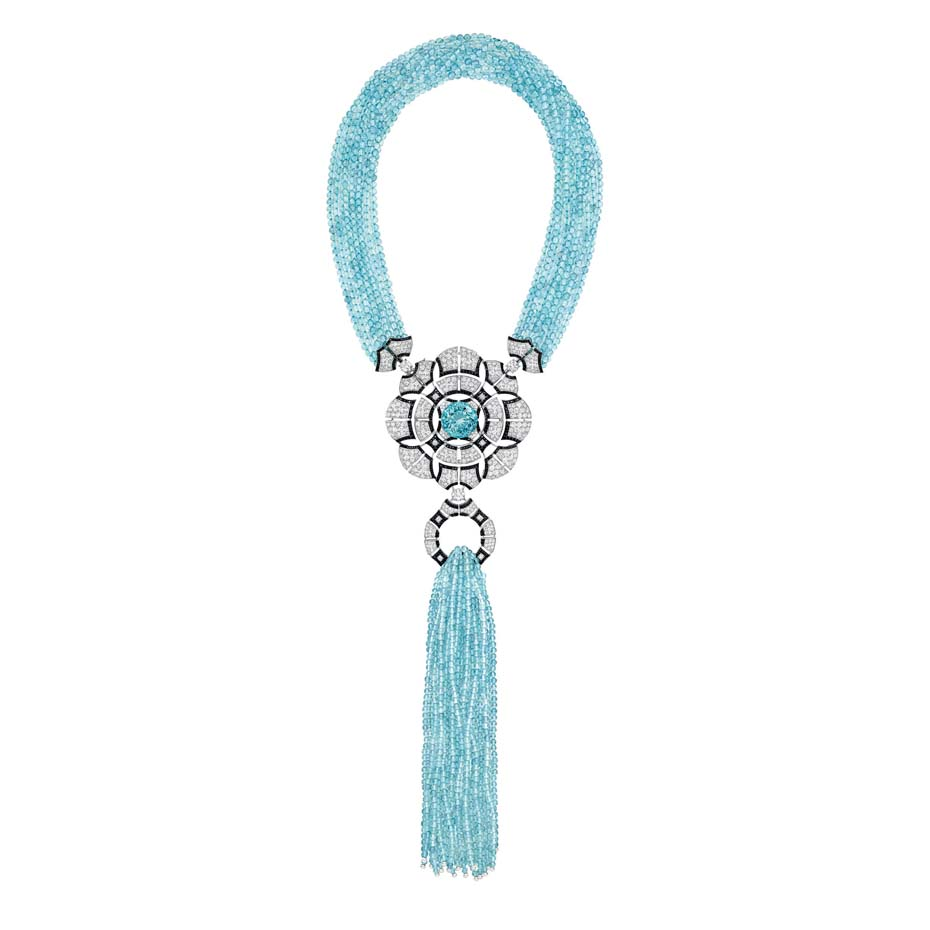 Chanel Café Society Cruise necklace set with a 28.30ct brilliant-cut aquamarine, diamonds, aquamarine beads and black spinels.