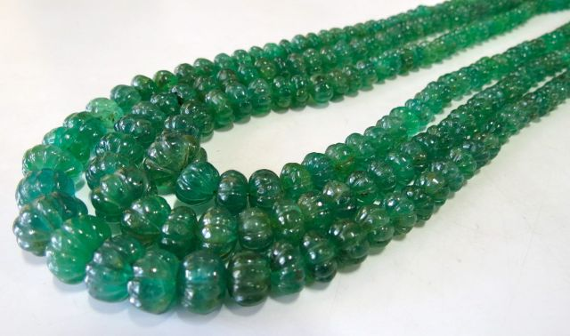 Antique Emerald Melon Pumpkin Cut Chain Yakymour