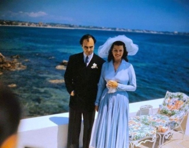 Rita Hayworth and Prince Ali Khan on their wedding day in the French Riveria, May 27, 1949