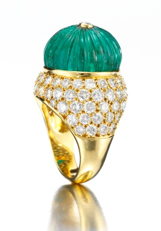 Van Cleef & Arpels. A Gold, Diamond and Carved Emerald Ring.jpg