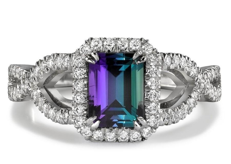 Alexandrite Diamond White Gold Ring