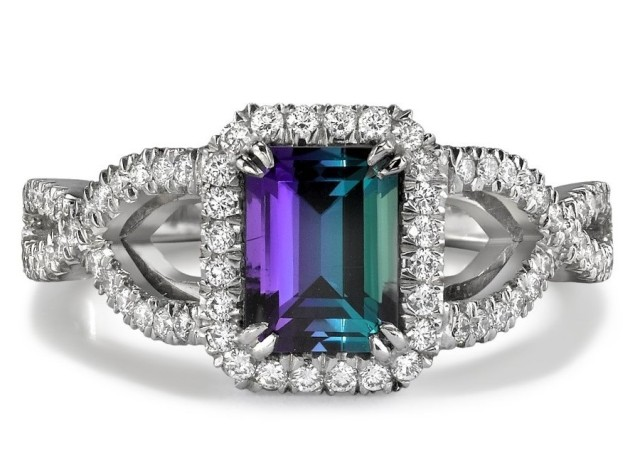Alexandrite Diamond White Gold Ring