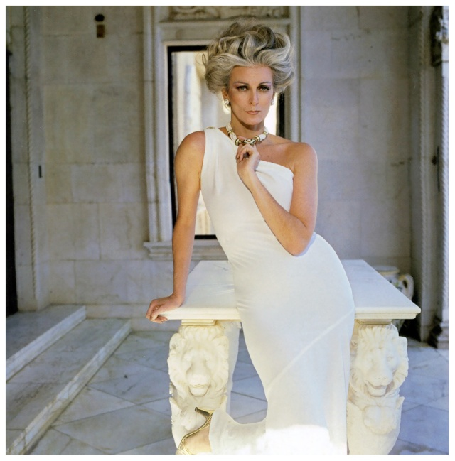 carmen-wearing-a-white-one-shoulder-dress-by-frank-masandrea-san-simeon-hearst-castle-town-country-magazine-1981