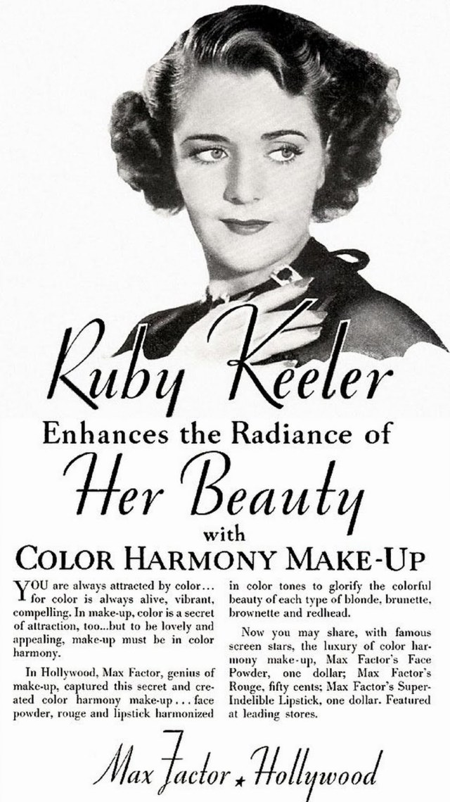 Max Factor Ruby Keeler Makeup, 1935