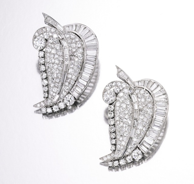 Pair of Platinum and Diamond Clip-Brooches, circa 1935