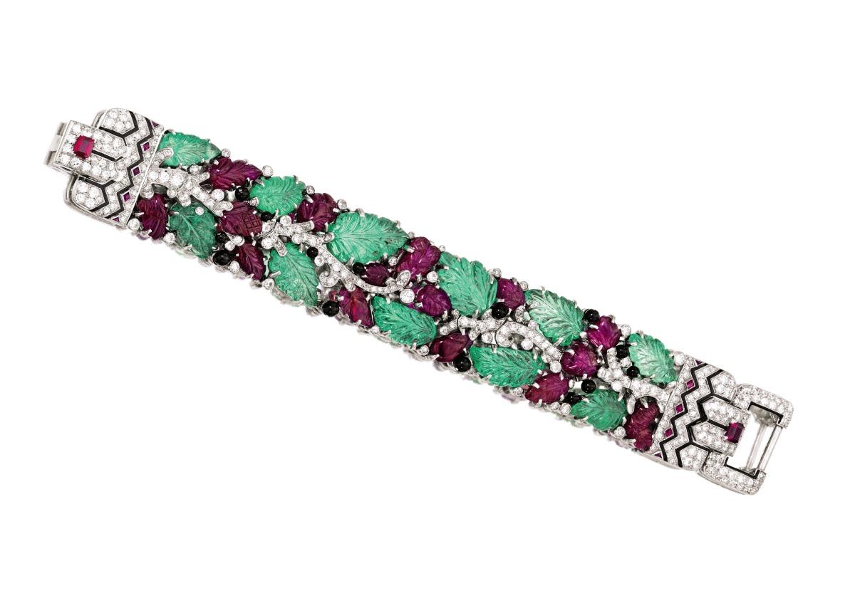 Platinum, Colored Stone, Diamond and Enamel 'Tutti Frutti' Bracelet, Cartier, New York, circa 1928. Estimate $750,0001 million.
