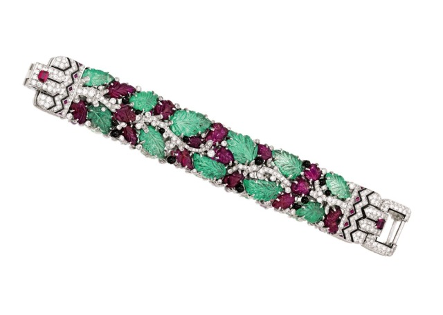 Platinum, Colored Stone, Diamond and Enamel 'Tutti Frutti' Bracelet, Cartier, New York, circa 1928. Estimate $750,0001 million.