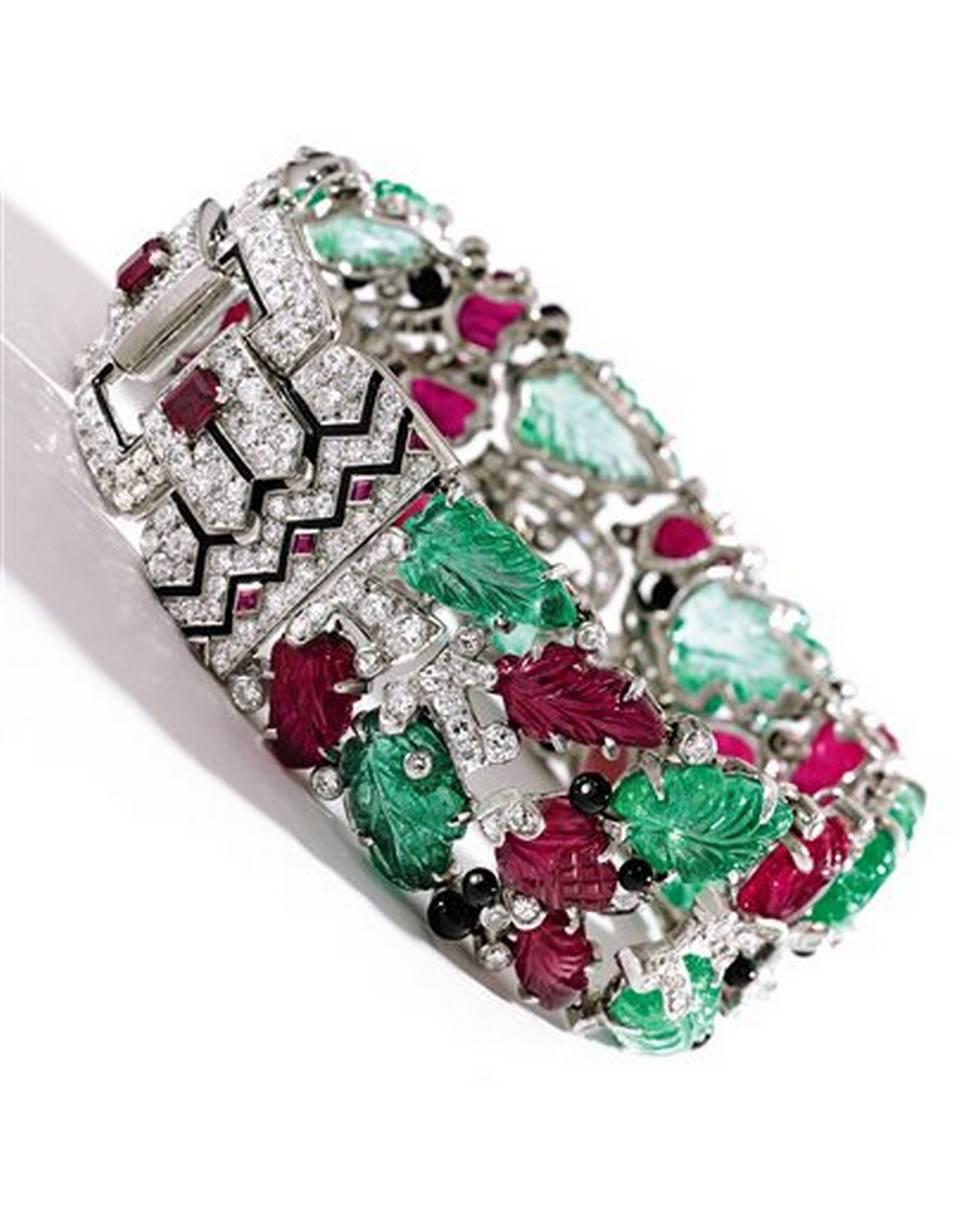 Platinum, Colored Stone, Diamond and Enamel 'Tutti Frutti' Bracelet, Cartier, New York, circa 1928.