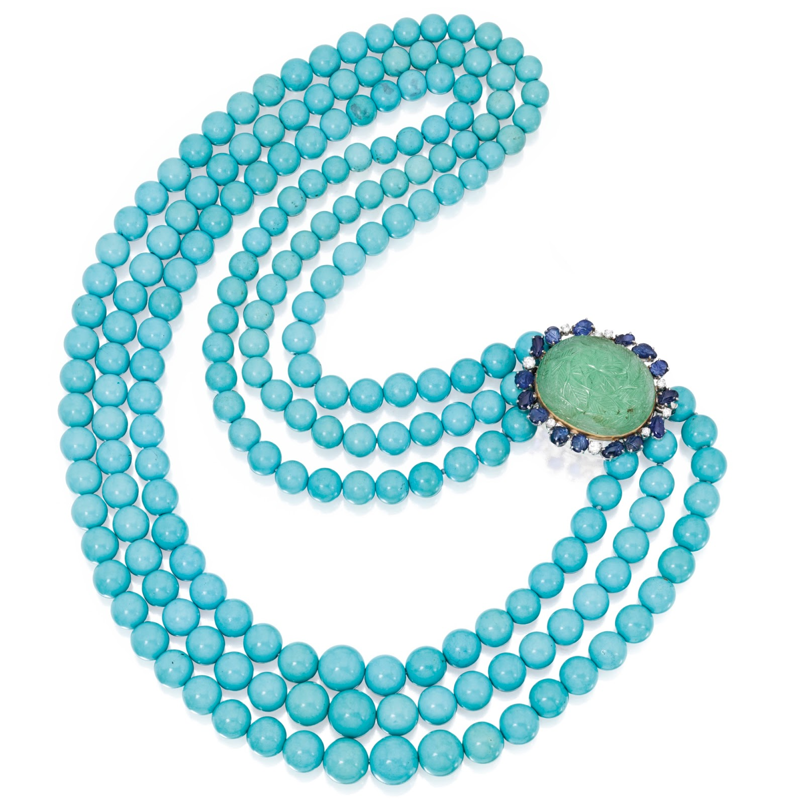 14 Karat White Gold, Turquoise, Emerald, Sapphire and Diamond Necklace-Brooch