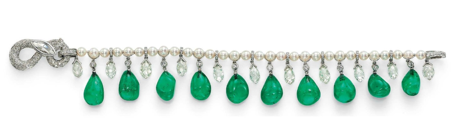 Collection of H.S.H. Gabriela Princess zu Leiningen. A suite of Colombian emerald, diamond and pearl jewellery, by Cartier4