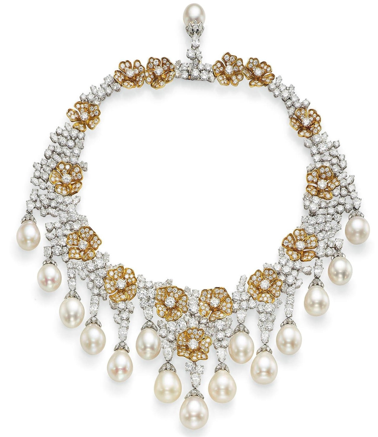 Cultured Pearl and Diamond Fringe Necklace and a Bangle and Pair of Earrings by Van Cleef & Arpels