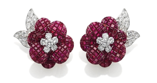 'Mystery Set' Ruby and Diamond 'Poppy' Earrings by Van Cleef & Arpels