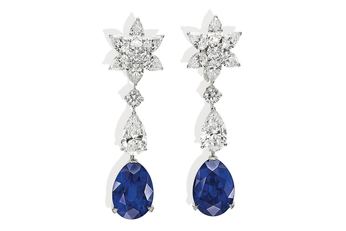 Pair of diamond and sapphire earrings by Cartier