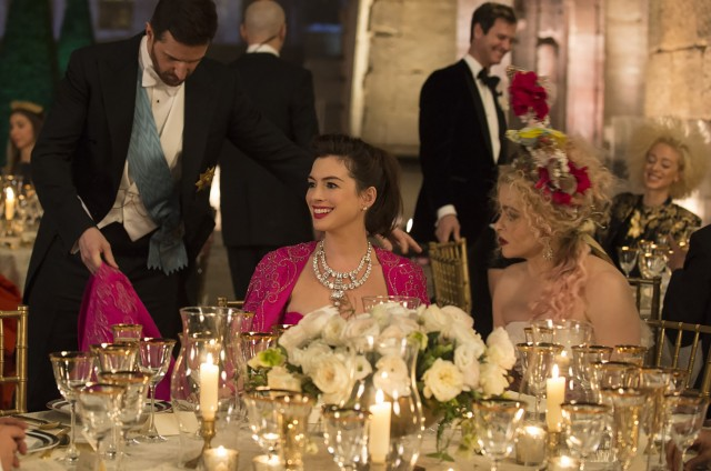 Actresses Anne Hathaway (left) and Helena Bonham Carter at the Met Gala in a scene from the film, 'Ocean's 8'.