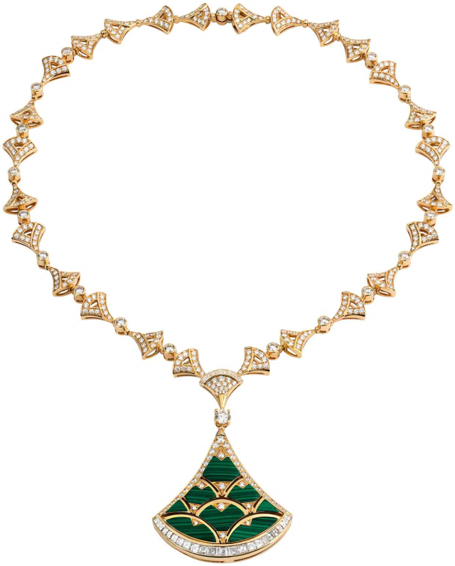 Bvlgari-Harrods-Collection-Divas_-Dream necklacee-Gold-Diamond-Malachite