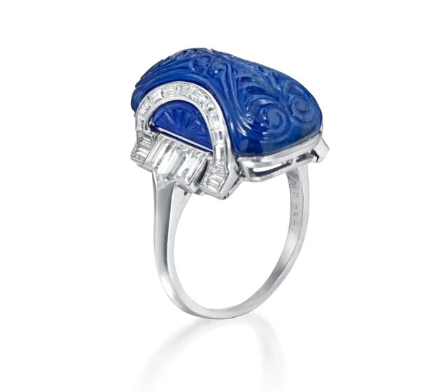 Art Deco Mughal Sapphire and Diamond Ring, circa 1925.